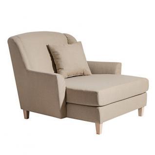 Sessel Longchair Relaxsessel Leinenoptik XXL Love-Seat inkl. Kissen Rücken echt - Vorschau 5