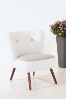 Sessel Retrosessel weiß und grau Retrostil Leinenoptik Retro Stuhl