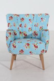 Sessel Retrosessel Retrostil Blumenprint Blumen blau beige Rosen - Vorschau 2