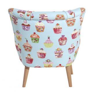 Sessel Retrosessel Retrostil Muffin Cupcake Muster Buche natur nussbaumfarbig - Vorschau 5