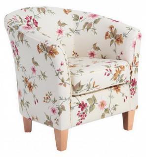 Sessel Cocktailsessel Einzelsessel Blumenprint weiß Blumen florale Muster - Vorschau 3