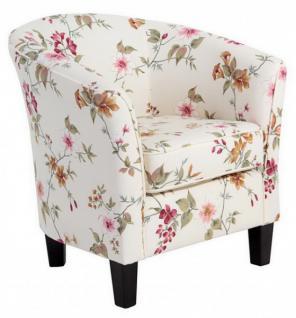 Sessel Cocktailsessel Einzelsessel Blumenprint weiß Blumen florale Muster - Vorschau 4