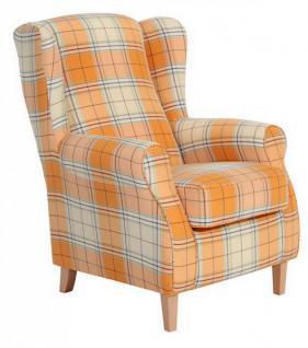 Ohrensessel Sessel Ohrenbackensessel Karo Muster Textilsessel Kedernaht - Vorschau 1