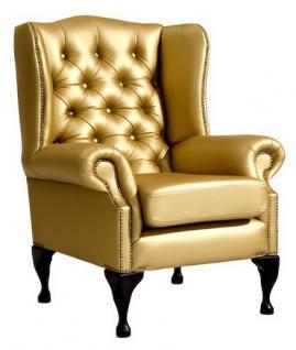 Sessel Ohrensessel Kunstleder Lederlook silber gold glänzend Ziernägel - Vorschau 1