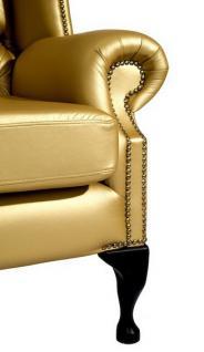 Sessel Ohrensessel Kunstleder Lederlook silber gold glänzend Ziernägel - Vorschau 5