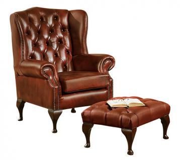 Sessel Ohrensessel mit Hocker Leder Wischleder rot braun Echtleder Chesterfield