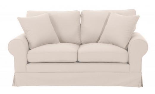 Sofa Polstersofa Couch 2-Sitzer Leinenoptik romantisch Volant Kedernaht Landhaus - Vorschau 3