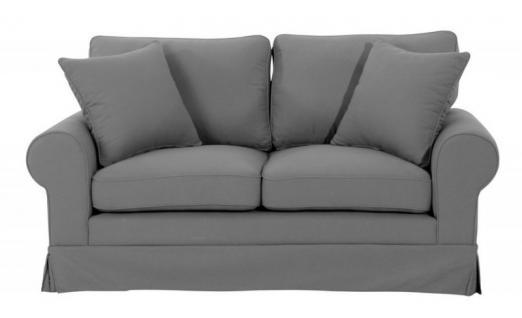 Sofa Polstersofa Couch 2-Sitzer Leinenoptik romantisch Volant Kedernaht Landhaus - Vorschau 4