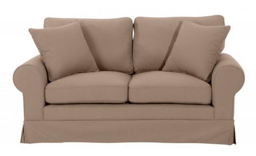 Sofa Polstersofa Couch 2-Sitzer Leinenoptik romantisch Volant Kedernaht Landhaus - Vorschau 2