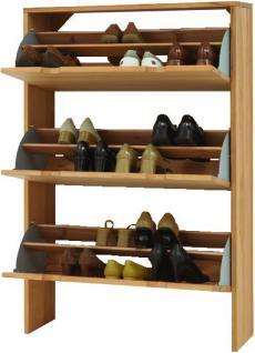 Schuhschrank Schuhkommode mit 3 Klappen Kernbuche Wildeiche massiv geölt - Vorschau 2