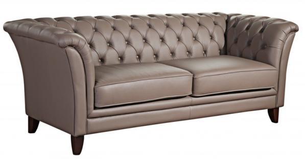 Sofa Couch Ledersofa Leder grau stein graphit Chesterfield Wohnzimmer - Vorschau 1