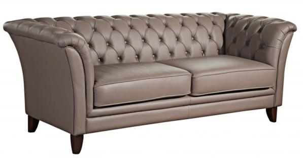 Sofa Couch 2,5-Sitzer Ledersofa Leder grau stein graphit Chesterfield Echtleder