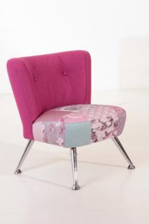 Stuhlsessel Sessel Stuhl Retro Retrostil Leinenoptik violett pink Patchwork Look - Vorschau 1