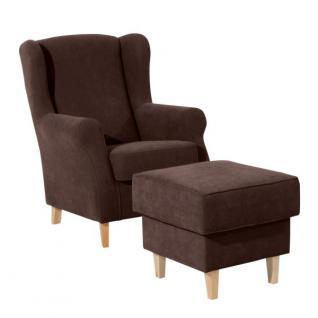 Sessel mit Hocker in vielen Trendfarben gepolstert weich bequem schlicht - Vorschau 5
