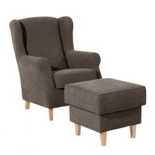 Sessel mit Hocker in vielen Trendfarben gepolstert weich bequem schlicht - Vorschau 3