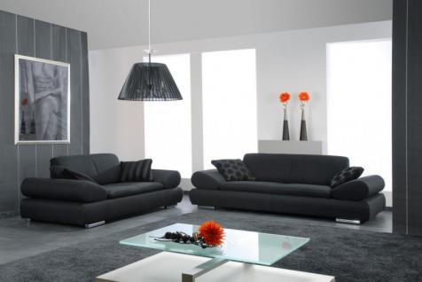 Polstergarnitur Sofa Set Garnitur Sofagarnitur modern schwarz creme grau - Vorschau 4