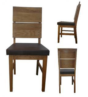 Stuhl Esszimmerstuhl Stuhl-Set 2 Stk Eiche massiv geölt PU Sitzpolster braun - Vorschau 1