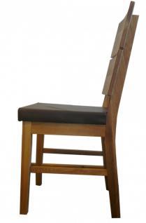 Stuhl Esszimmerstuhl Stuhl-Set 2 Stk Eiche massiv geölt PU Sitzpolster braun - Vorschau 3