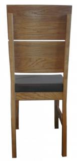 Stuhl Esszimmerstuhl Stuhl-Set 2 Stk Eiche massiv geölt PU Sitzpolster braun - Vorschau 4