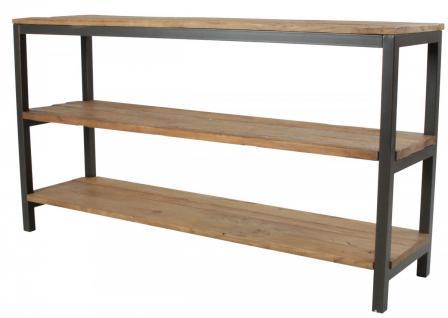 Regal Konsole 3 Böden Ulme Altholz strukturiert Used Look vintage Stahlgestell