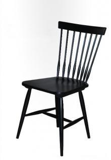 Stuhl 2er Set Esszimmerstühle Birke weiß schwarz lackiert nordisch klassisch