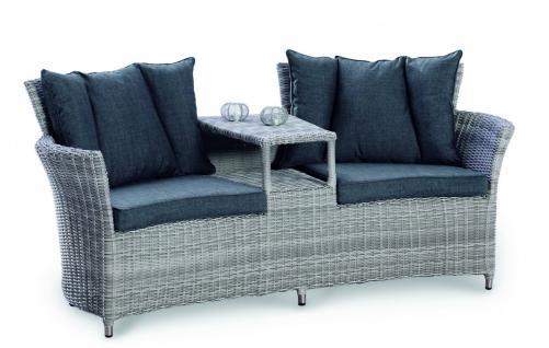 Loungemöbel Lounge Zweiersofa 2er Sessel mit Zwischenablage Geflecht Rattanoptik - Vorschau 1
