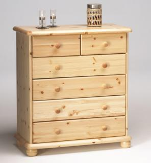Kommode Schubladenkommode Wäschekommode Highboard Kiefer massiv natur lackiert - Vorschau