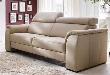 Couch Sofa Ledersofa Echtleder Leder hell 2, 5 Sitzer Sitzvorschub - Vorschau 1