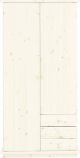 Kleiderschrank Schrank 2-trg. Kiefer massiv white wash Kinder - Jugendzimmer - Vorschau 1