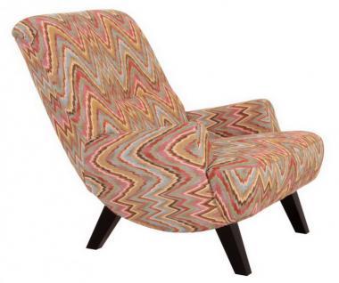 Sessel Liegesessel Relaxsessel mit Hocker Retro Stil natur bunt Muster - Vorschau 1