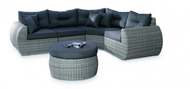 Loungeset Loungemöbel Lounge Set Geflecht Aluminium grau Eckcouch Sofa