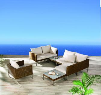 Loungegarnitur Lounge Garnitur Set Geflecht natur Garten Terrasse braun
