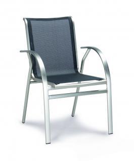 Stapelsessel Sessel Stapelstuhl Gartenstuhl Aluminium schwarz Edelstahloptik - Vorschau