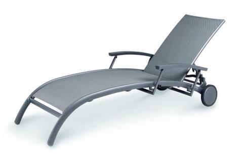 Gartenliege Sonnenliege Relaxliege Rollen verstellbare Rückenlehne Rollliege - Vorschau 2