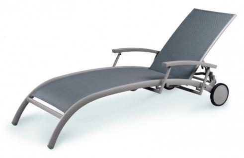 Gartenliege Sonnenliege Relaxliege Rollen verstellbare Rückenlehne Rollliege - Vorschau 1
