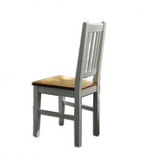Stühle Stuhl-Set Küchenstuhl Esszimmerstuhl Fichte massiv Antikweiß shabby - Vorschau 1