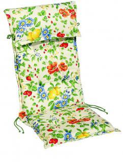 Polsterauflage Sesselauflage Stehsaumauflage mit Kopfpolster Baumwolle