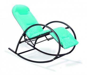 Schaukelstuhl Relax Gartenliege Kopfpolsterung Relaxliege Polster türkis grün - Vorschau 2