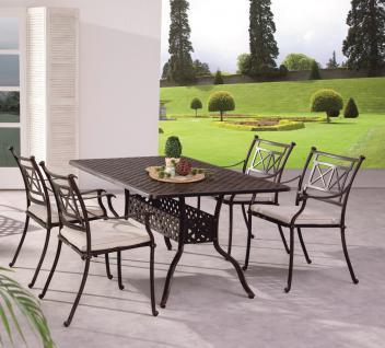 Gartengruppe Garten Set Tisch 4 Stühle Alu Guss massiv bronze weiß wetterfest