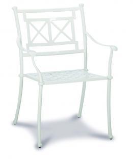 Gartengruppe Garten Set Tisch 4 Stühle Alu Guss massiv bronze weiß wetterfest - Vorschau 4