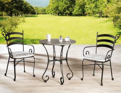 Gartenset Metall Set Stuhl Rundtisch Balkonset Terrasse Tischgruppe schwarz - Vorschau 1