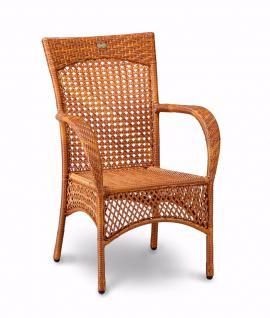 Korbsessel Sessel Gartensessel Geflecht Kunstfasergeflecht Karamell weiß Garten - Vorschau 1