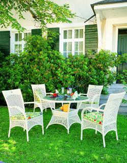 Gartenmöbelsets Tischgruppe Gartensitzgruppe Geflecht weiß karamell wetterfest - Vorschau 2