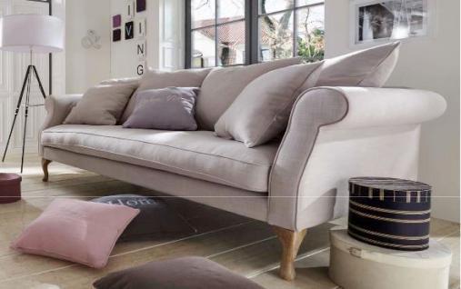 Sofa Couch 3-Sitzer lichtgrau Eiche romantisch reinigungsfähig ink. lose Kissen - Vorschau