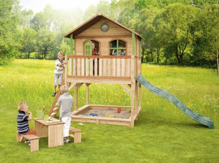 Spielhaus hoch Spielhütte Holzspielhaus für Kinder mit Sandkasten Abdeckung - Vorschau 3