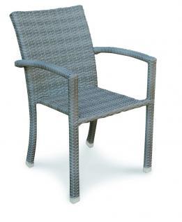 Stapelsessel Sessel Gartensessel Stuhl wetterfest Geflecht grau braun bequem - Vorschau 1
