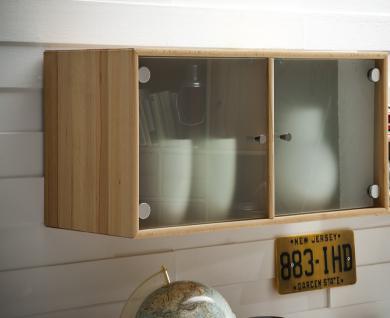 Wandregal Wandschrank System planbar Kernbuche massiv geölt Glasfront satiniert
