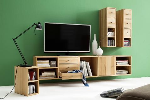 wohnwand mediencenter regal tv einheit kernbuche massiv planbares system kaufen bei saku. Black Bedroom Furniture Sets. Home Design Ideas