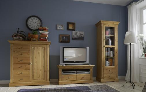 Wohnwand TV Wohnzimmer Einrichtung Kiefer massiv Lowboard Vitrine Highboard