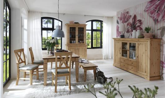 Esszimmerset Einrichtung komplett Tisch Vitrine Highboard Kiefer massiv Landhaus - Vorschau 1